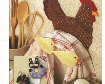 Barnyard Buddies, Plastic Canvas, Pattern, Annies International, 1995, Sewing Pattern, Sewing Supplies, Skunk Magnet, Hen, Chicks, Goat