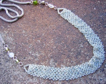 Eco-Friendly Statement Necklace - Temptation - Recycled Vintage Mesh Chain, Delicate Glass Beads in Pale Green, Clear and White, Metal Bead