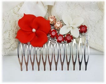 Coral Red Flower Hair Comb - Bridal or Bridesmaid Hair Comb, Flower Hair Piece, Coral Wedding