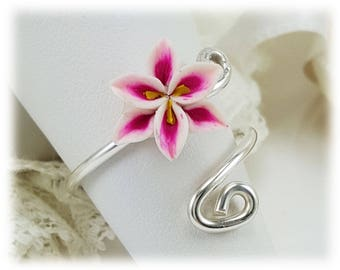 Pink Lily Adjustable Silver Wrap Ring - Stargazer Lily Jewelry