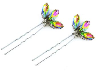 Iridescent Lotus Rhinestone Hair Pins - Iridescent Crystal Hair Pins, Iridescent Wedding Hair Accesories