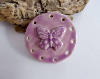 Handmade Ceramic Butterfly Pine Needle Basket Base