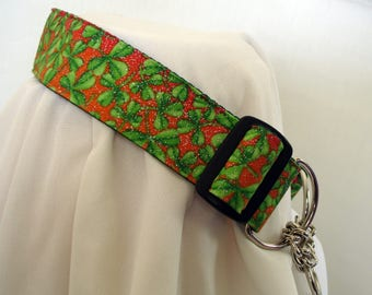 Half Check Dog Collar - Lucky Clover - Chain Martingale - 1.5 Inches Wide - Adjustable 13-19 Inches - Limited Slip Style - READY TO SHIP