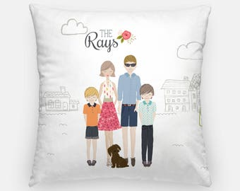 Throw Pillow, 16x16 pillows, family illustration, 20x20 pillow, pet pillow, kids pillow, pillow for nursery, girls pillow, decorative pillow