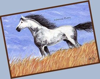 Dappled Gray Mustang Stallion Wild Horse Art Horse Print Equine Art Wild Horse Lover Mustang Art Wild Horse Decor Horse ACEO Horse Art Gift