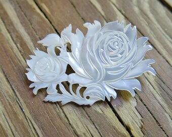 Vintage Rose Mother of Pearl Carved Brooch ... MOP Carved Pin