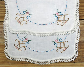 Two Vintage Embroidered Linens ... Set of Dresser Cloths, Arm Rests, Doilies ... Flower Baskets...Lace Edge Trim, Home Decor, Sewing Supply