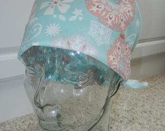 Tie Back Surgical Scrub Hat in Spa Coral Floral