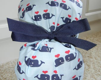 Fold Up Ponytail Scrub Hat with Whales in Love CHOOSE RIBBON Color