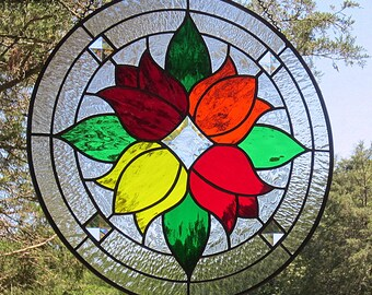 Stained Glass Red Orange Yellow Tulips Round Beveled Suncatcher Panel