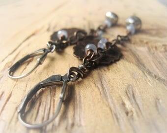 Sapphire Earrings Copper Dangle Earrings Item No.2982  2045