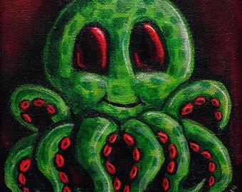 Mini Octopus Green Red 6x6 Digital Print
