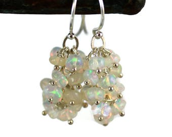 Ethiopian Fire Opal Earrings - Sterling Silver - Opal Cluster Earrings - Opal Jewelry