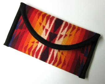 Wallet Clutch Bag Colorful Southwestern Print Wool from Pendleton Woolen Mills Magnetic Snap Closure