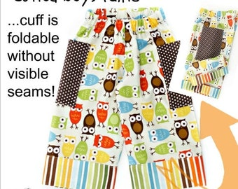 SALE Boys Pants Pattern with cuffs 0m-10 youth PDF Instant