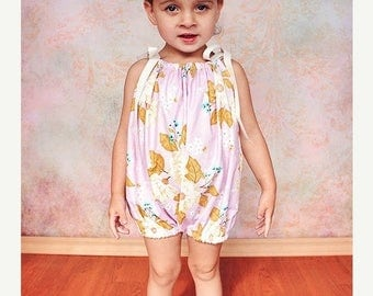 SALE Baby Bubble Romper Pattern Tutorial PDF nb-5t w. snap button tape option and 2 fit styles downloadable