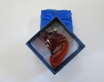 Amber Glass Fox Necklace in Blue Gift Box with Bow Woodland Forrest Animal Jewelry