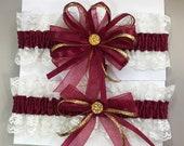 Burgundy Gold Bridal Wedding Garter Set  a Keepsake n Toss Garters