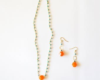 Summer Carnelian Jewelry Set  / Simple Modern Minimalist 14k Gold Beaded Necklace Earring Set with Blue Turquoise and Carnelian Gemstones