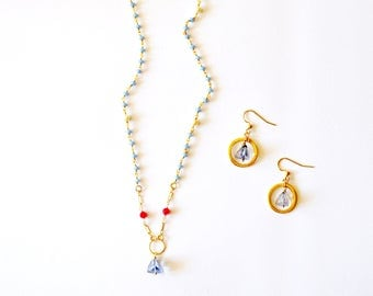 Wedding Jewelry / 14k Gold Filled Vermiel Geometric Necklace Geometric Hoop Earrings Set with Blue Tanzanite Lapis and Chalcedony Gemstones