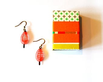 Gift Boxed Jewelry / Gift Boxed Earrings / Handmade Red Striped and Vintage Brass Earrings in Matchbox Jewelry Gift Box with Washi Tape Deco
