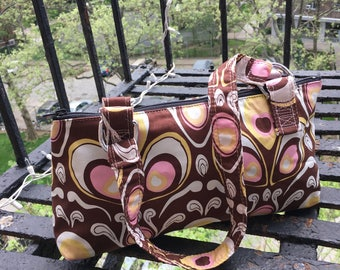 Brown and Pink Retro Cotton Print Baguette Shoulder Bag, Handbag, Purse