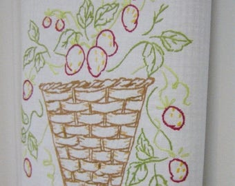 ON SALE Spring Tea Towel | Vintage Linen - Button Dish Towel | Strawberries Embroidery | KitchenTowel | Strawberry Basket Embroidery