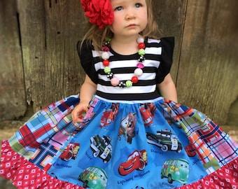 Disney Cars movie dress Pixar Mater Lightning McQueen birthday party girls toddler Disney clothing outfit Momi boutique custom dress