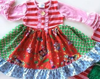 Mickey Mouse Minnie Mouse Disney Christmas dress Momi boutique custom dress