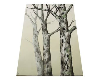 Mossy Oak Trees canvas painting - monochrome ombre - modern landscape - oak forest painting - woodland forest art