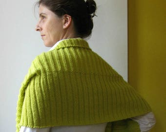 Scarf Hand Knitted in Yellow Wool