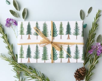 Evergreen Trees Wrapping Paper / Christmas Gift Wrap / Pacific Northwest Gift Wrap / Trees Wrap / Washington Wrapping Paper / Evergreen Tree