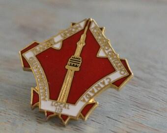 CN Tower Pin Back, City of Toronto Button, Transit Union Pin, Labor Memorabilia, Toronto Souvenir Red and Brass Pin Maple Leaf Enamel Button