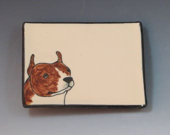 Handbuilt Ceramic Soap Dish with Dog - Pit Bull