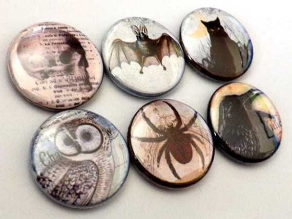 Horror Macabre Goth refrigerator magnet spider skull crow black cat bat halloween gifts party favor stocking stuffer trick or treat bags