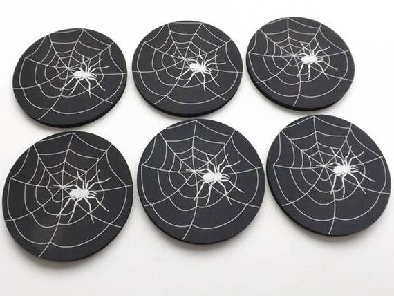 Spider Web Drink Coaster Gift Set spooky Halloween home goth decor hostess gift housewarming trick or treat party favor geekery color choice