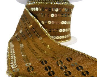 """Mocha Brown With Gold Sequin Stripes Wired Ribbon  2.5"""" Wide"""