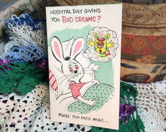Vintage Greeting Cards never used Get Well Soon Card sick Bunny BAD dreams Money CHARM Craft - Unused with Envelope