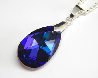 Large Teardrop Necklace - Purple Pendant - Christmas Gift - Purple Necklace - Purple Jewelry - Pendant Necklace - Gift for Her - Crystal