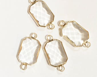 4 pcs of  Glass faceted rectangle with  brass setting 22x10mm Clear White , glass connector 1/1 loop gold tone