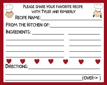 50 Personalized Recipe Cards   PINK Hearts