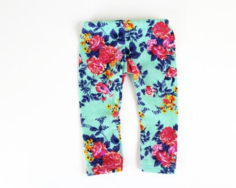 Fits like American Girl Doll Clothes - Coral Roses on Teal Leggings, Made To Order
