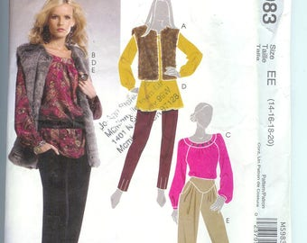 McCalls  Misses TOPS and VEST Tunic Pants Sewing Pattern  M5983 Size  EE  14-16-18-20  Uncut