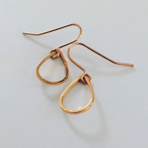Delicate Rose Gold Tone Teardrop Earrings - Simple - Modern - Geometric - Stylish