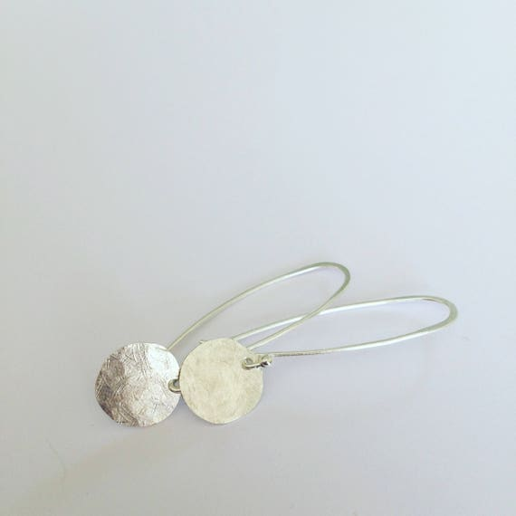 Planished Sterling Silver Moon Discs on Sterling Wire - Simple - Modern - Minimalist - Luna -