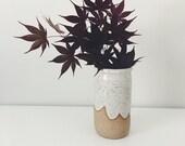 White Cloud Ceramic Vase, speckled white pottery vase, small ceramic bottle bud vase, wheel thrown pottery bottle
