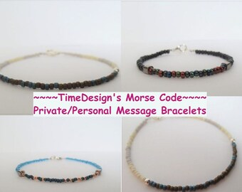 Custom LUXURY Morse Code Hidden Message Bracelets//Sterling Silver//StAcKaBlE Bracelets//Special Message//Private Message