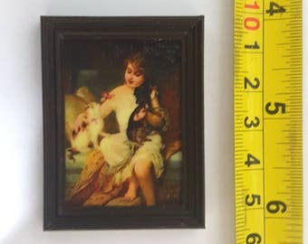 E. Munier framed painting Girl with kitten and puppy - for 1:12 dollhouse