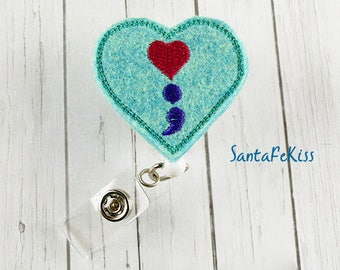 Semicolon Suicide Awareness ID Badge Holder with Retractable Reel, Embroidered Mental Health Awareness Badge Reel, Medical Badge Reel