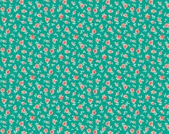 The Elm Park Collection- Turquoise Shetland -Camelot - Cotton Fabric-Floral -Quilt- Apparel-WindyRobinCotton- *Sold in Half Yard.